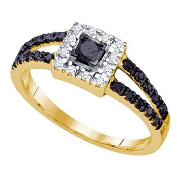 10kt Yellow Gold Women's Princess Black Color Enhanced Diamond Princess Bridal Wedding Engagement Ring 1/2 Cttw - FREE Shipping (USA/CAN)