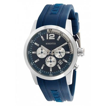 Momentus FS312S-05RB Men's Functional Sport Navy Blue Dial Chrono Navy Blue Rubber Strap Watch