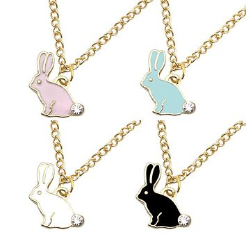 Cute Bunny Rabbit Charm Pendant Necklace Rhinestone