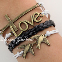 Cross bracelet, love bracelet ,free birds,infinity love, antique bronze, blessed gift, freedom gift,friendship bracelet