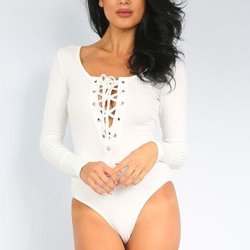 KINGSTON RIBBED LACE UP BODYSUIT - WHITE