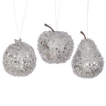 3ct Silver Beaded Sequin and Glitter Pear Apple and Pomegranate Fruit Christmas Ornaments