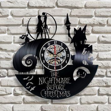 Repurposed Vinyl Record Nightmare Before Christmas Quartz Wall Clock