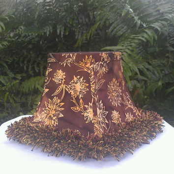 Aloha Lamp Shade Hula Fringe Square Bell Frame Hawai'i Floral Cotton Brown and Golden Yellow Brown Grosgrain Ribbon Table Lamp Floor Lamp