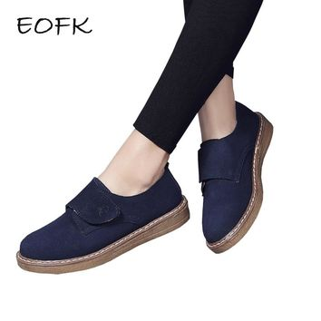 EOFK New Fashion Women Loafers Suede Leather Shoes Hook Loop Moccasins Shoes Woman Flats Women's Casual Female Flat Shoes