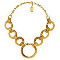 Hammered Circle Rings Short Necklace