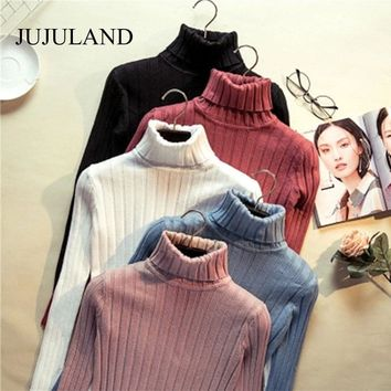 2017 Women Sweaters and Pullovers Hight Elastic Turtleneck Sweater Ribbed Winter Knitted Sweater Spring Women Jumper Christmas