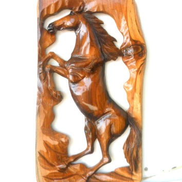 "Wood Carving Horse Hand Carved Horse Natural Teak Wood Wild Mustang Wooden Horse  Art Decor / Wall Hanging / Gift 16""X9.25"""