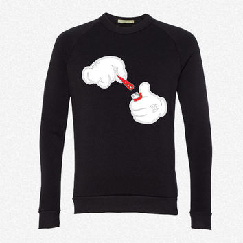 Mickey Hands Lighter fleece crewneck sweatshirt