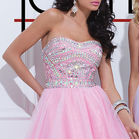 Strapless Beaded Short Dress by Tony Bowls