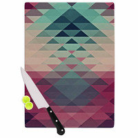 "Nika Martinez ""Hipster"" Maroon Teal Cutting Board"