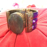Bright Purple Tile Bracelet with Polished Stone Center & Brass Filigree Scrollwork Large Statement Vintage Mogul Piece made in India