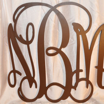 22 inch Vine connected wooden monogram letters wreath