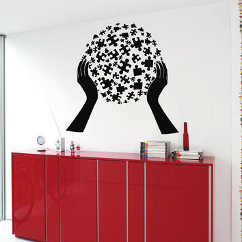 Wall Decals Vinyl Decal Sticker Art Mural Decor Globe of Puzzles in Hands Kj635