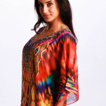 Aztec print Kaftan dress embellished caftan kaftan maxi dress relaxed fit multicolor Boho dress
