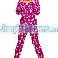 Purple Duck Hoodie - Hooded Footed Pajamas - Pajamas Footie PJs Onesuits One Piece Adult Pajamas - JumpinJammerz.com