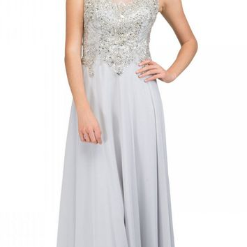 b3c690cdd3b Starbox USA L6098 Silver Illusion Bateau Neck Chiffon Jeweled Bo