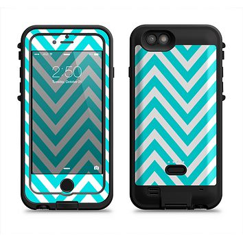 The Trendy Blue Sharp Chevron Pattern Apple iPhone 6/6s LifeProof Fre POWER Case Skin Set