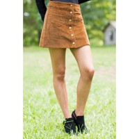 Fringe Can't Hurry Love Brown Corduroy Skirt
