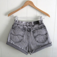 Vintage Black Acid Wash High Waisted Cut Off Denim Shorts Mom Jean Cuffed 23""