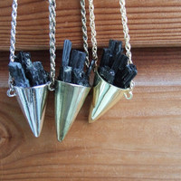 Raw Tourmaline Crystal Spike Cone Necklace - Silver, Gold or Brass