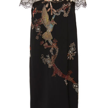 Embroidered Illusion Shift Dress