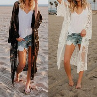 Sheer Lace Embroidered Long Kimono