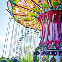 Carnival Swing Ride Photo, Vintage Art Photography, Nursery Art and Home Wall Decor, Fine Art Photography Ocean City Red Blue Green Yellow