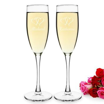Double Hearts Toasting Flutes