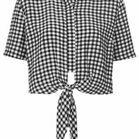 Gingham Tie Front Shirt