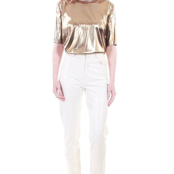 80s Vintage Gold Metallic Top Short Sleeve Shiny Liquid Wet Look Club Glam Diva 90s Clothing Womens Size Medium
