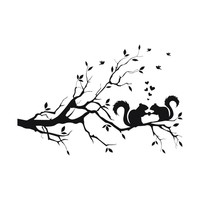 Squirrel On Long Tree Branch Wall Sticker Animals Cats Art Decal