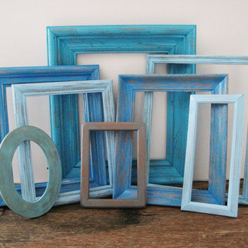 Blue Frame Set of 8 Open/Empty Rustic Beach Decor