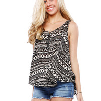 Papaya Clothing Online :: TRIBAL ZIPPER SLEVELESS TOP