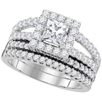 14kt White Gold Women's Princess Diamond Split-shank Bridal Wedding Engagement Ring Band Set 3/4 Cttw - FREE Shipping (US/CAN)