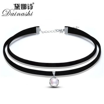 Dainashi 2017 Women Jewelry Pendant Leather Strap Necklace Chokers Necklace Real Natural Freshwater Pearl Ladies Link Necklace