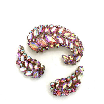 Sherman Pink Aurora Borealis Demi Parure, Brooch & Clip-on Earrings, Exquisite Swarovski Crystals, Designer Signed, Vintage Wedding Jewelry