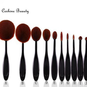 Day-First™ Professional 10pcs/set Tooth Brush Shape Oval Makeup Brush Set