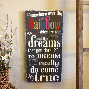 Somewhere over the Rainbow- chalkboard style - vintage lettering - with Rainbow letters -