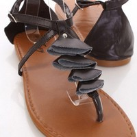Brown Faux Leather Folded Decor Thong Strap Sandals