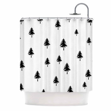 "Suzanne Carter ""Pine Tree"" Black White Shower Curtain"