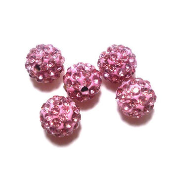 5 LIght Rose Pave Beads, 10mm Light Rose Pink Pave, Polymer Clay Pave Bead, Beads, Shamballa Bead, Disco Ball Bead CC0019PK