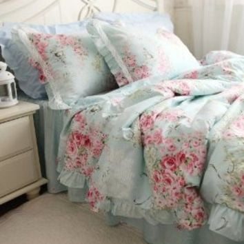 FADFAYHome Textile,Blue Floral Bedding Set,Princess Lace Ruffle Bedding Set,Twin/Queen/King,4Pcs