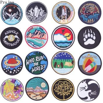 Prajna Round UFO Parches Stalker Stranger Things Space Patch Astronaut Embroidered Iron On Patches For Clothes Stripe Sticker
