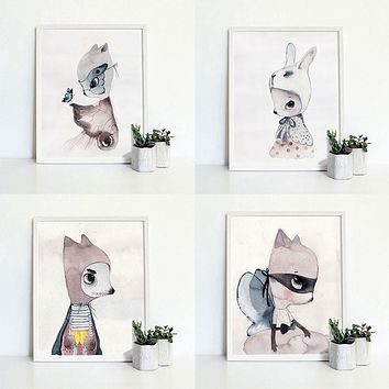 Rabbit Pattern Pictures Large Home Wall Decor Canvas Watercolor Painting