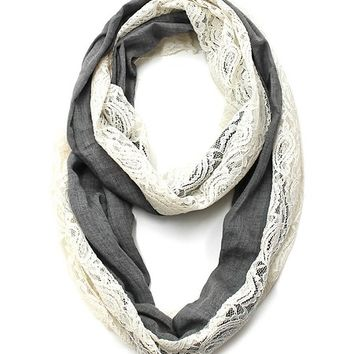 Cozy by Lulu- Charcoal Linen and Lace Infinity Scarf