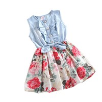 Urparcel Baby Girl Tutu Denim Dress Short Sleeve Lace Princess Party Skirts 1-6y (2-3 years, Pink)