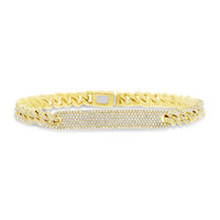 1.49ct 14k Yellow Gold Diamond Pave Chain Bracelet