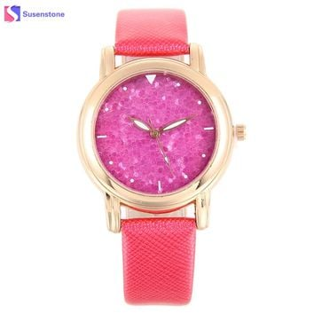 Fashion Sequins Watch Women Design Leather Band Analog Alloy Quartz Wrist Watch Ladies New Small Sport Watches reloj mujer