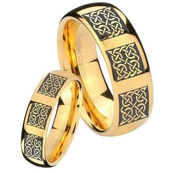 His Her Glossy Dome Multipe Square Celtic 14K Gold IP Tungsten Wedding Rings Set